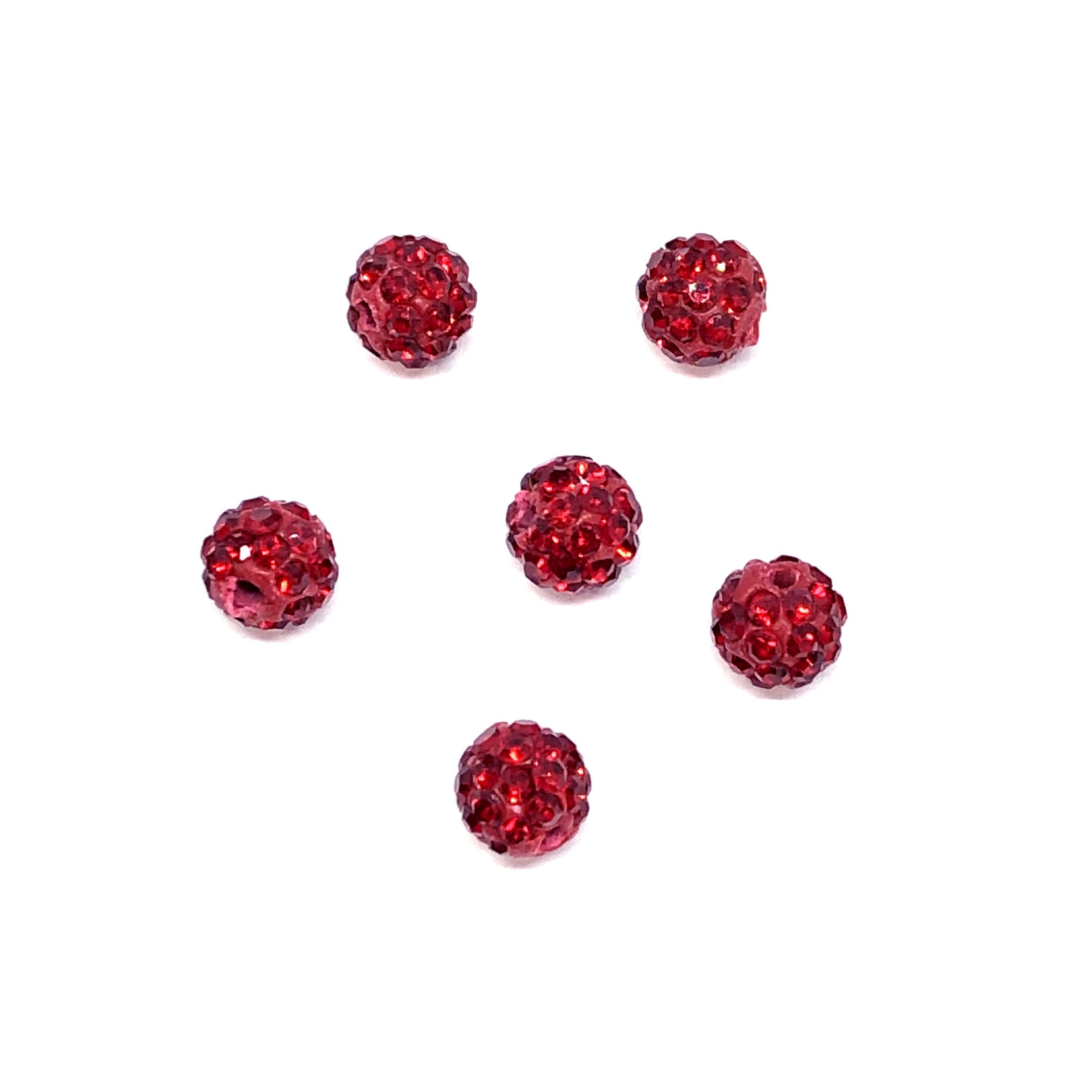 Rhinestone Pave Beads, Red Beads, 6mm, 0671, ball beads, glass beads, crystal stones, round beads, crystal beads, faceted, bead, glass, b'sue boutiques, jewelry making, jewelry findings, vintage supplies