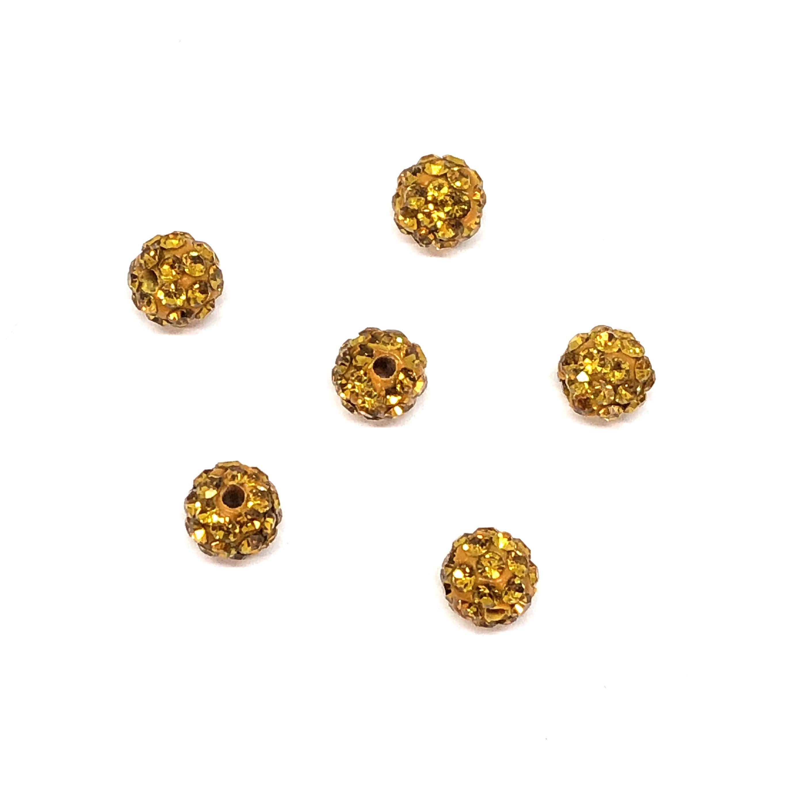 Rhinestone Pave Beads, Topaz Beads, 6mm, 0672, ball beads, glass beads, crystal stones, round beads, crystal beads, faceted, bead, glass, b'sue boutiques, jewelry making, jewelry findings, vintage supplies, yellow, yellow beads