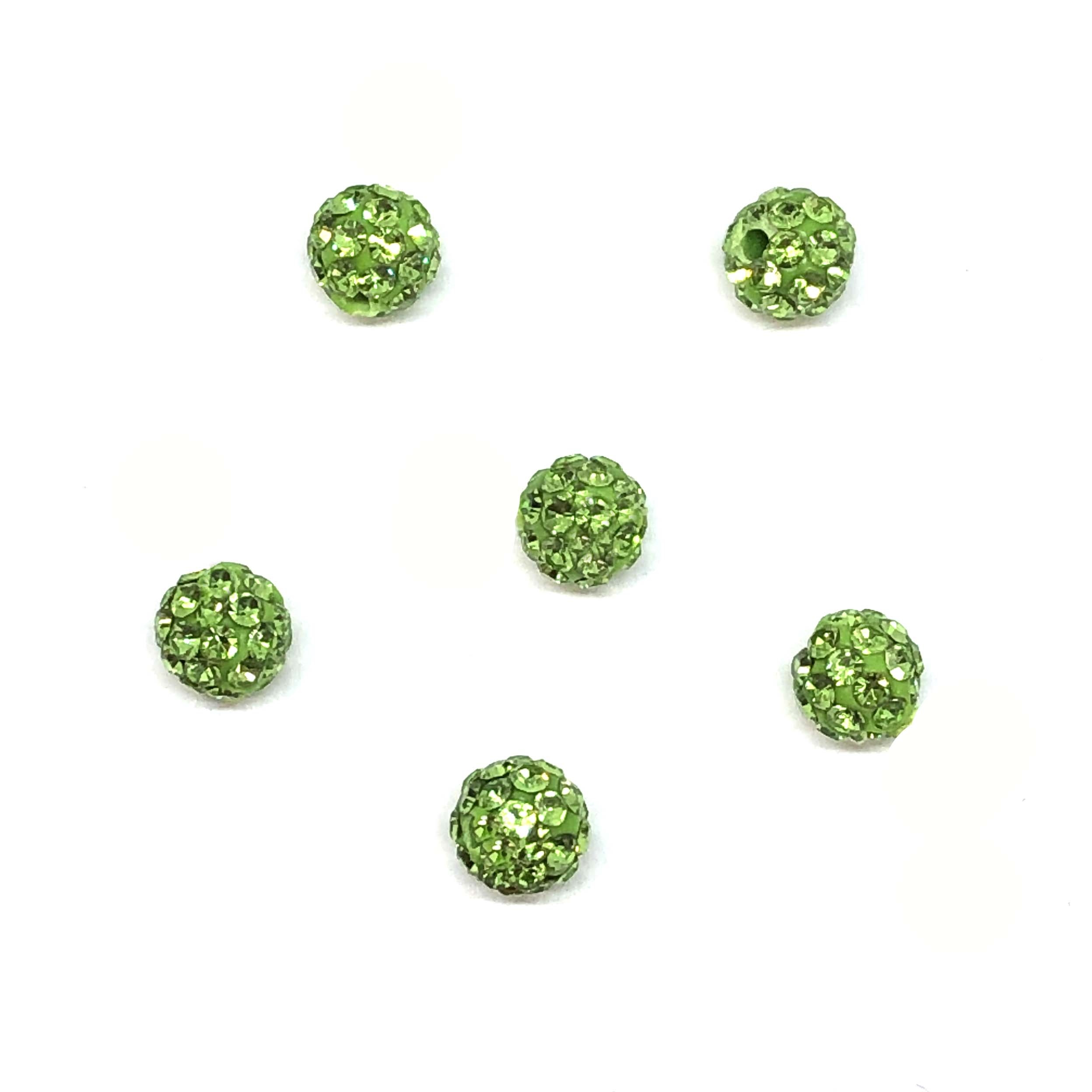 Rhinestone Pave Beads, Green Beads, 6mm, 0673, ball beads, glass beads, crystal stones, round beads, crystal beads, faceted, bead, glass, b'sue boutiques, jewelry making, jewelry findings, vintage supplies