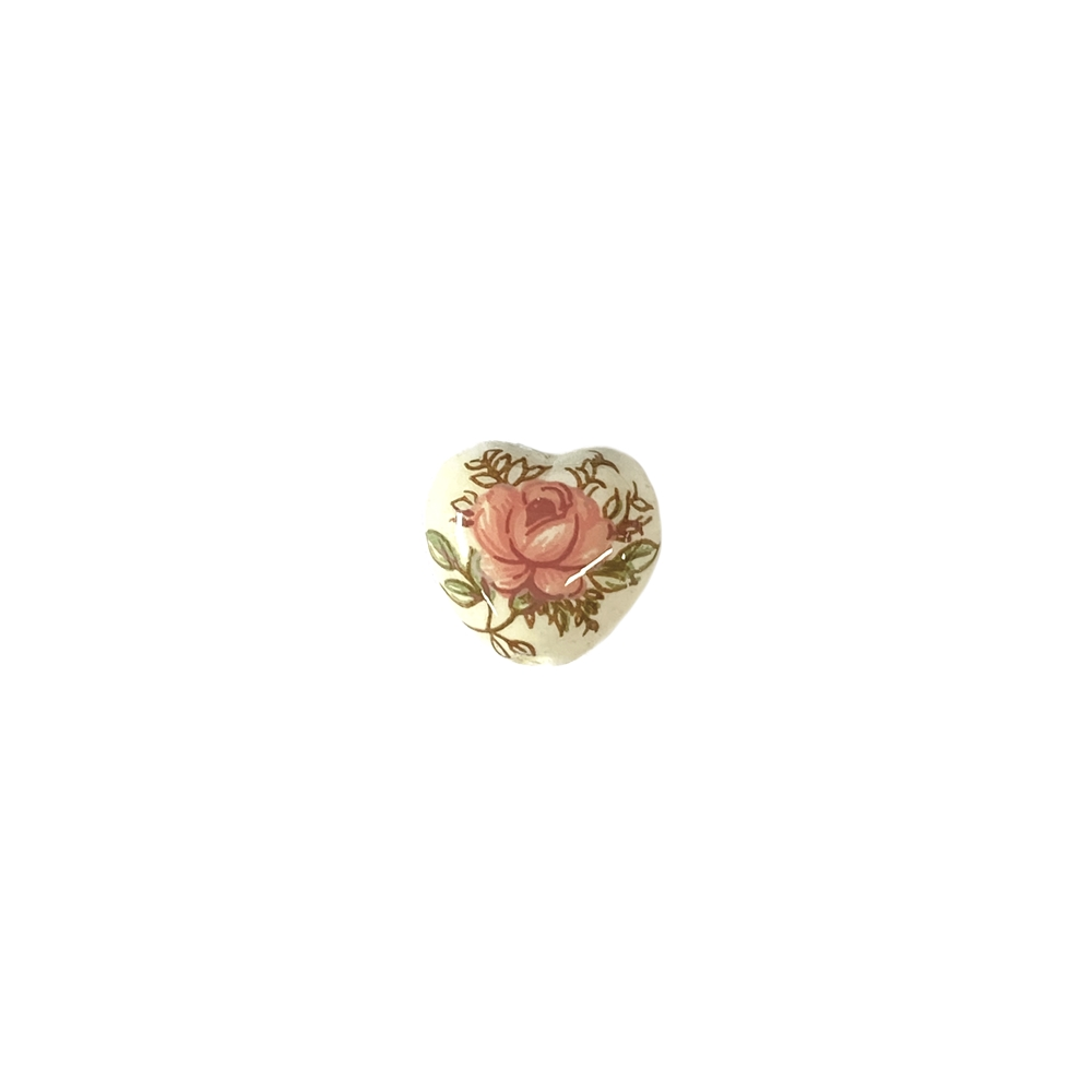 vintage, Japanese, decal, pink rose, 10x11mm, made in Japan, decal rose, rose on both sides, bead with rose, rose beads, vintage beads, plastic beads, vintage plastic beads, B'sue Boutiques, heart beads, shaped like a heart, vertically drilled, pink,ivory