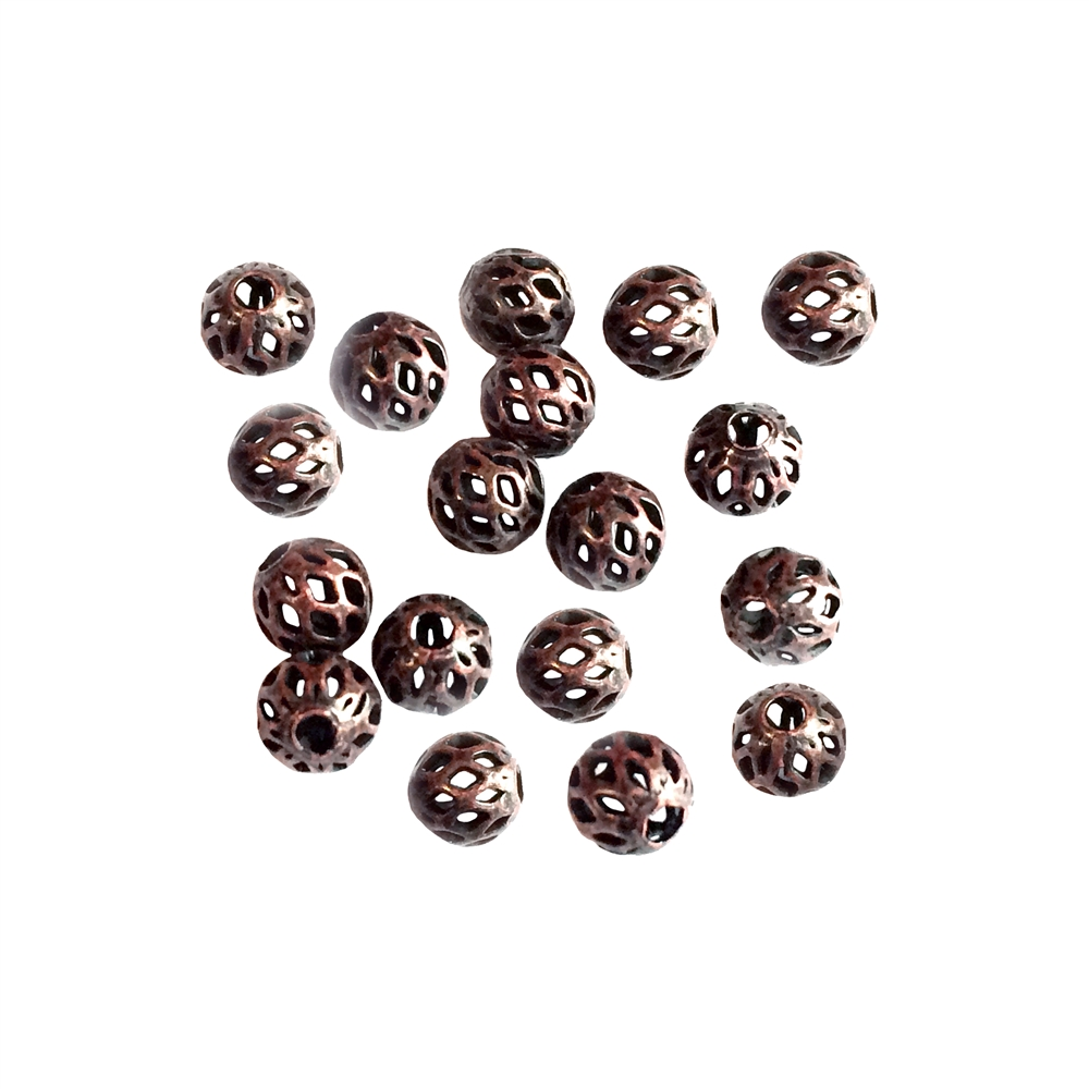 brass beads, filigree beads, rusted iron, 073, argyle beads, antique copper, vintage jewelry supplies, beading supplies, jewelry making supplies, ball beads, 4mm
