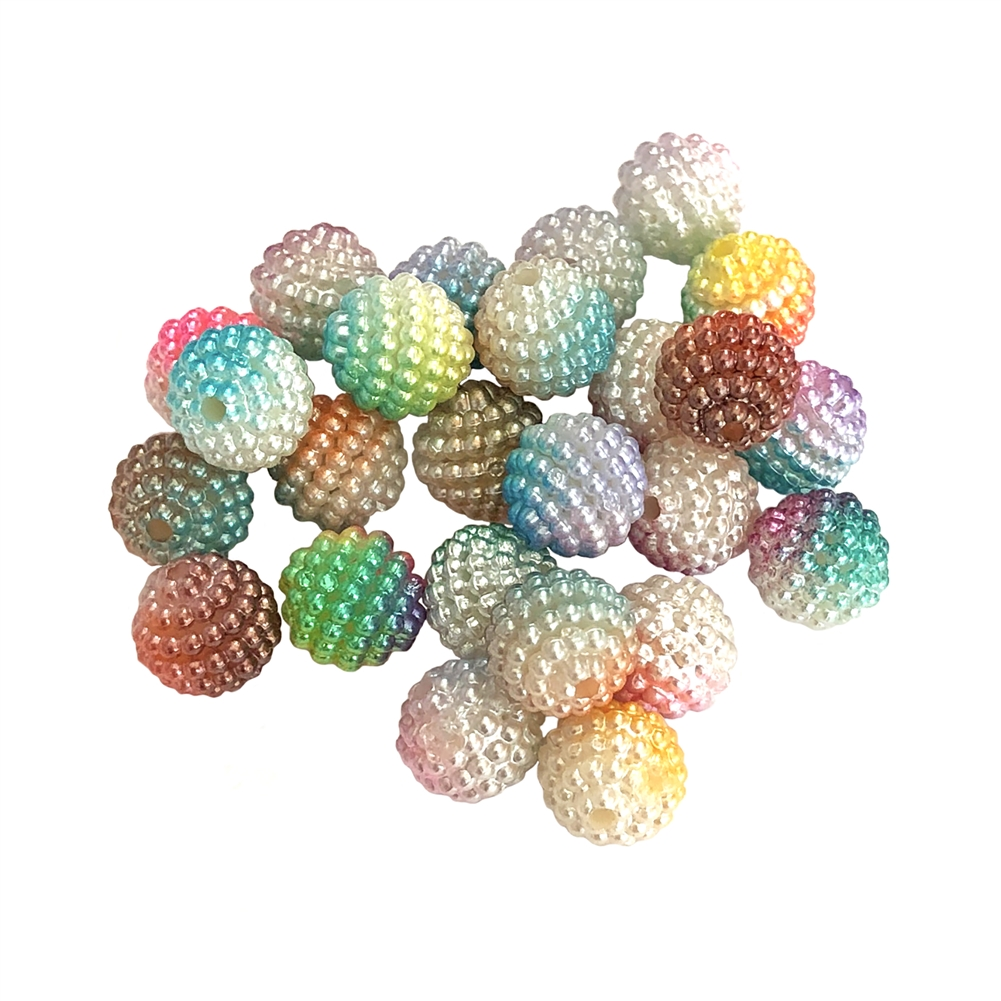 two-tone berry beads, plastic beads, jewelry supplies, colorful beads, two-tone beads, multi-color beads, assortment, mixed beads, rainbow, assorted colors,  pearl, berry, 10mm, B'sue Boutiques, jewelry making, jewelry beads, beads, beading supplies, 0732