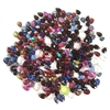 baby briolettes, acrylic beads, 07351, vintage, vintage beads, beading, making beaded jewelry, briolettes, vintage briolettes, pear shaped beads, tear drop, purple, sapphire blue, dark amber topaz, siam red, assorted sizes