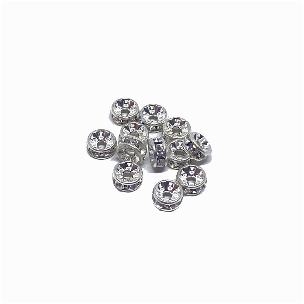 rhinestone rondelles, crystal, silver, 4.5mm, crystal clear, clear rhinestone rondelle, rondelle spacer beads, crystal spacer, jewelry supplies, B'sue Boutiques
