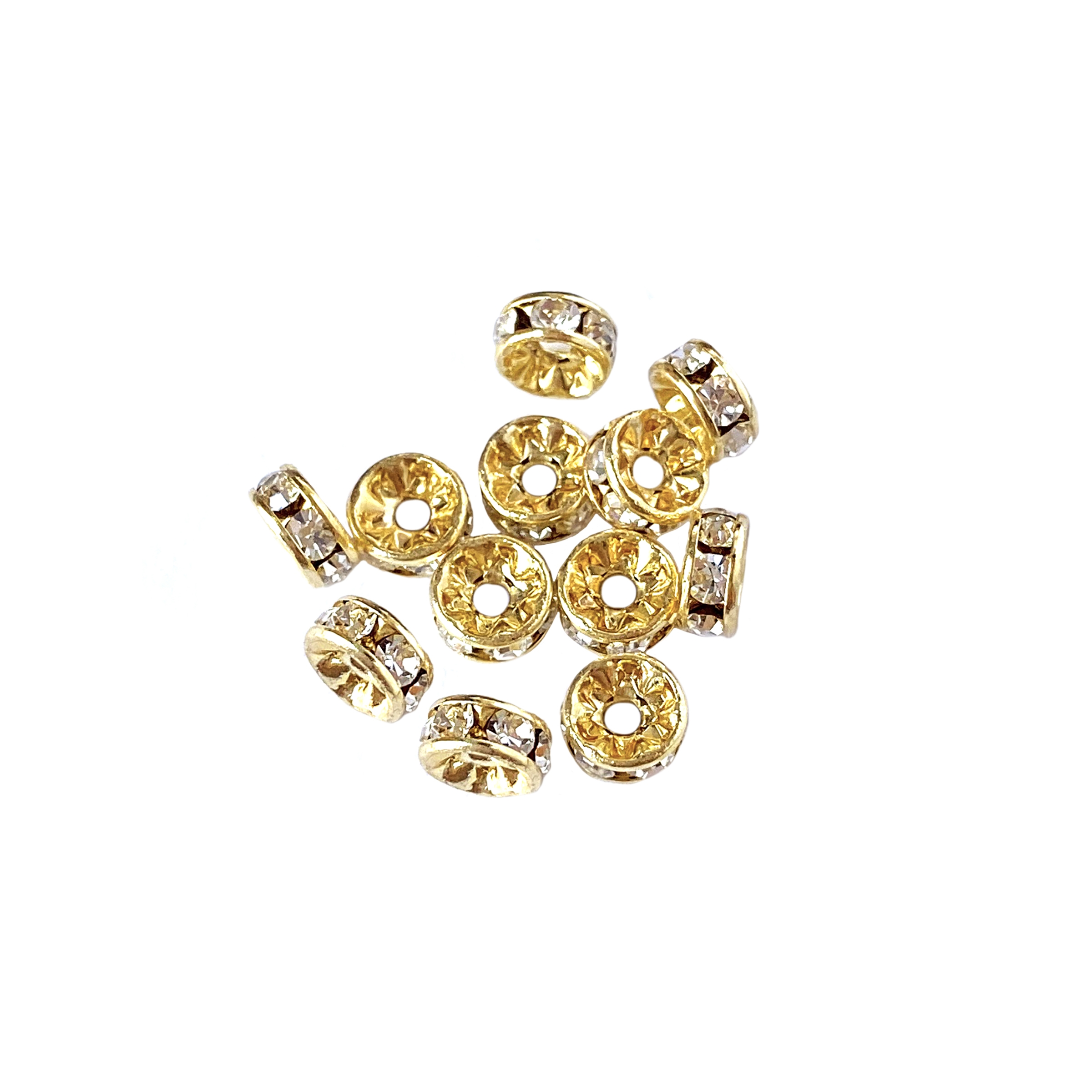 rhondelles, crystal beads, jewelry making, 5mm,07488, jewelry supplies, beading supplies, gold plate rhondelles, jewelry making supplies,