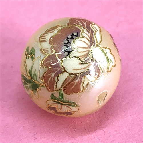 Japanese Tensha bead, acrylic beads, floral bead, 07501, B'sue Boutiques, drilled beads, drilled, vintage jewelry supplies, jewelry making, 14mm, rose flower pattern, rose, tensha beads, vintage beads, cream, floral