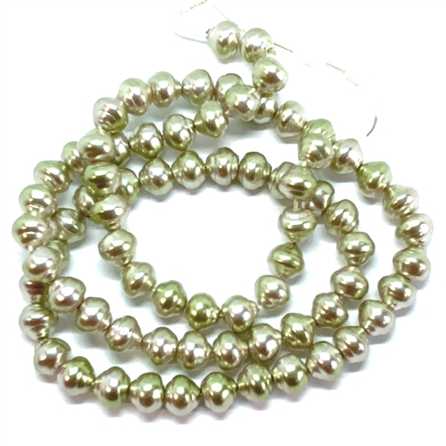 glass beads, Czech glass, baroque, pale mint, 6mm, 07510, vintage jewelry supplies, snail pearls, glass snail pearls, jewelry making supplies, beading supplies, glass pearlized beads,