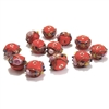 lampwork beads, India glass beads, 10mm, beads made by hand, lamp glass, wedding cake beads, glass beads, red bead, red with gold trim beads, beading supplies, jewelry making supplies, B'sue Boutiques, 0779, made in India
