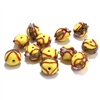 lampwork beads, India glass beads, 10mm, beads made by hand, lamp glass, wedding cake beads, glass beads, yellow beads, yellow with red trim beads, beading supplies, jewelry making supplies, B'sue Boutiques, 0780, made in India