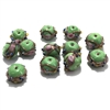lampwork beads, India glass beads, 10mm, beads made by hand, lamp glass, wedding cake beads, glass beads, green beads, green with gold trim beads, beading supplies, jewelry making supplies, B'sue Boutiques, 0781, made in India