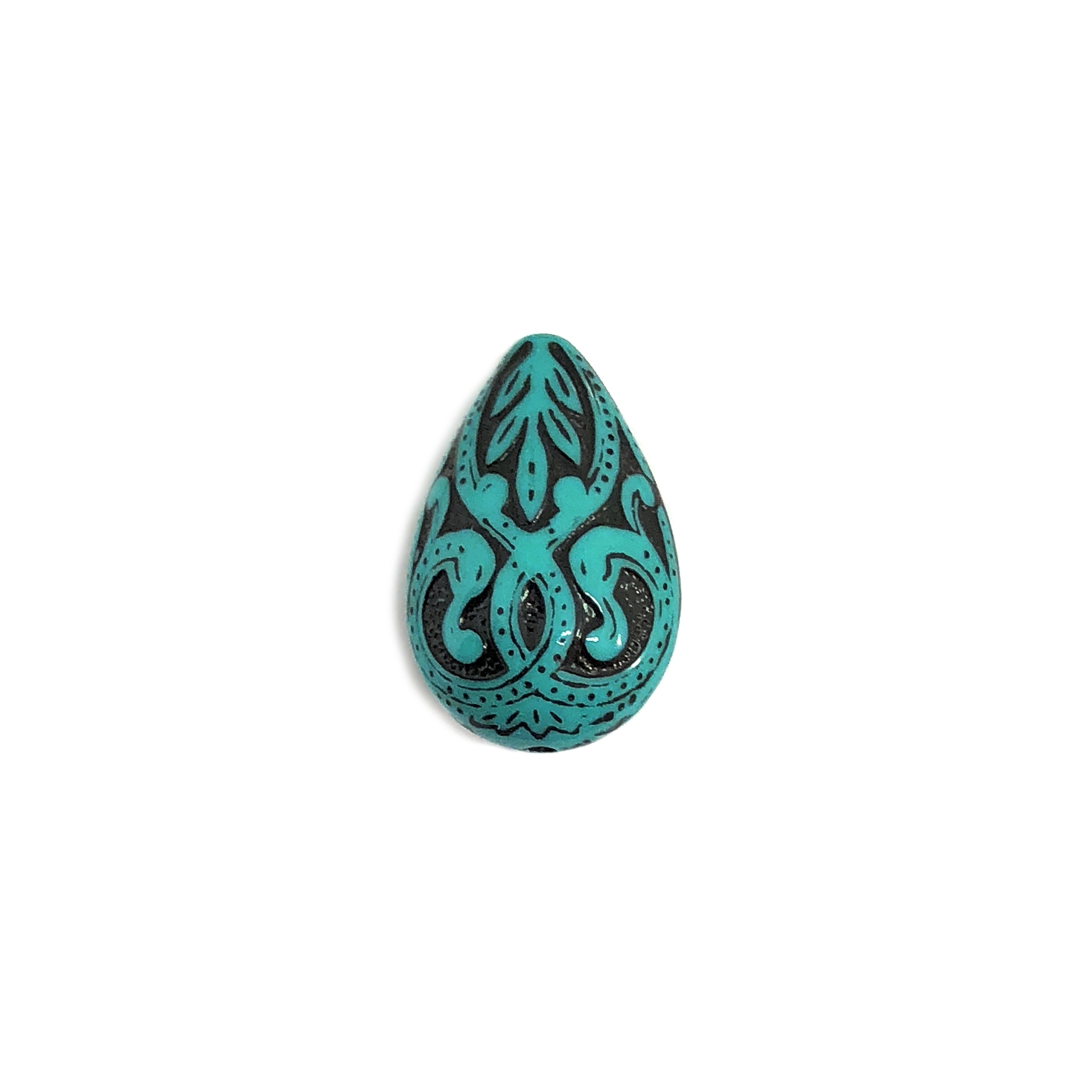 dark turquoise, acrylic beads, victorian beads, dark turquoise, 19x13mm, teardrop, teardrop bead, turquoise, jet black, beads, teardrop, jewelry making, acrylic, teardrop design, accents, US made, B'sue Boutiques, jewelry findings, vintage supplies, 07817
