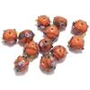 lampwork beads, India glass beads, 10mm, beads made by hand, lamp glass, wedding cake beads, glass beads, orange beads, orange with gold trim beads, beading supplies, jewelry making supplies, B'sue Boutiques, 0782, made in India