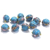 lampwork beads, India glass beads, 10mm, beads made by hand, lamp glass, wedding cake beads, glass beads, blue beads, blue with gold trim beads, beading supplies, jewelry making supplies, B'sue Boutiques, 0784, made in India