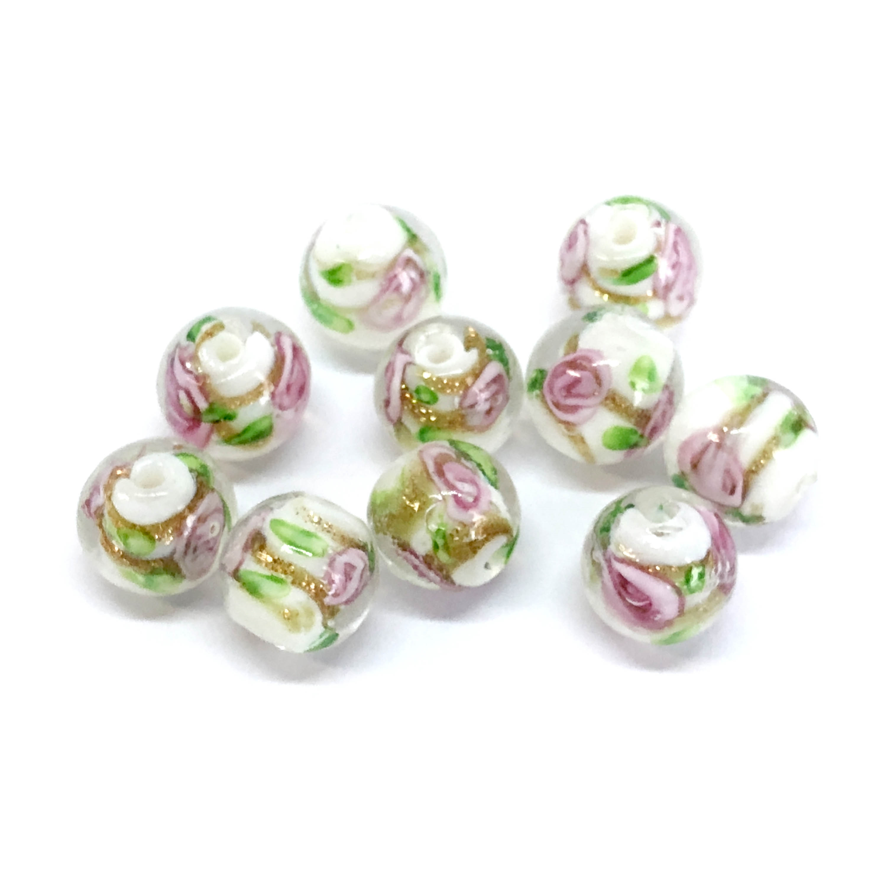 lampwork beads, glass beads, rosebud, pink beads, pink lampwork beads, 10mm, beads made by hand, lamp glass, pink rosebud bead, glass rose bead, pink rose, pink and gold, beading supplies, jewelry making supplies, B'sue Boutiques, 07875