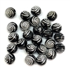 acrylic bubble gum beads, black and silver, 8mm, 08030, beading supplies, jewelry making supplies, vintage jewelry supplies, black beads, silver accents beads, spiral accent beads, bubble gum beads, acrylic beads