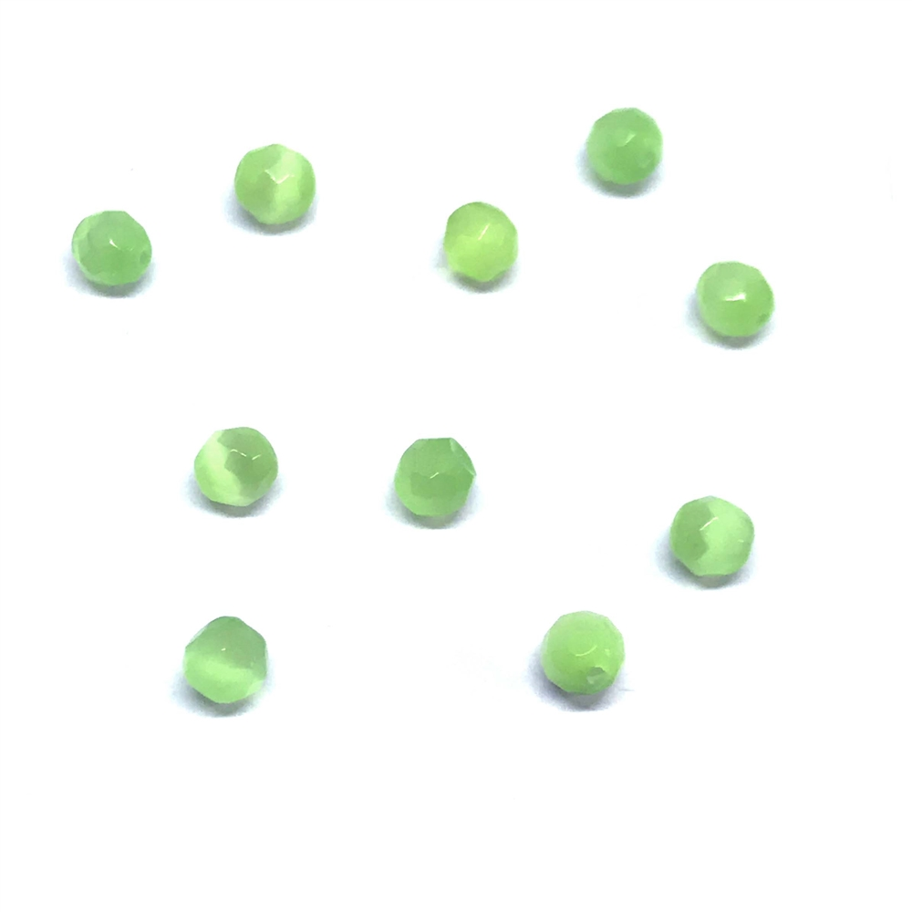 Lime Green cat's eye beads, glass beads, fiber optic glass, glass, cat's eye, green beads, cabochon, round, glossy shine, faceted beads, US made, B'sue Boutiques, jewelry stone, 4mm, 0808