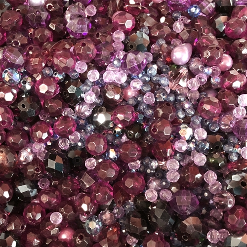 vintage bead mix, berry pie, 08172, machine cut glass beads, ab beads, imported glass, bead mix, assorted beads, bead assortment, mixed colors of beads, B'sue Boutiques