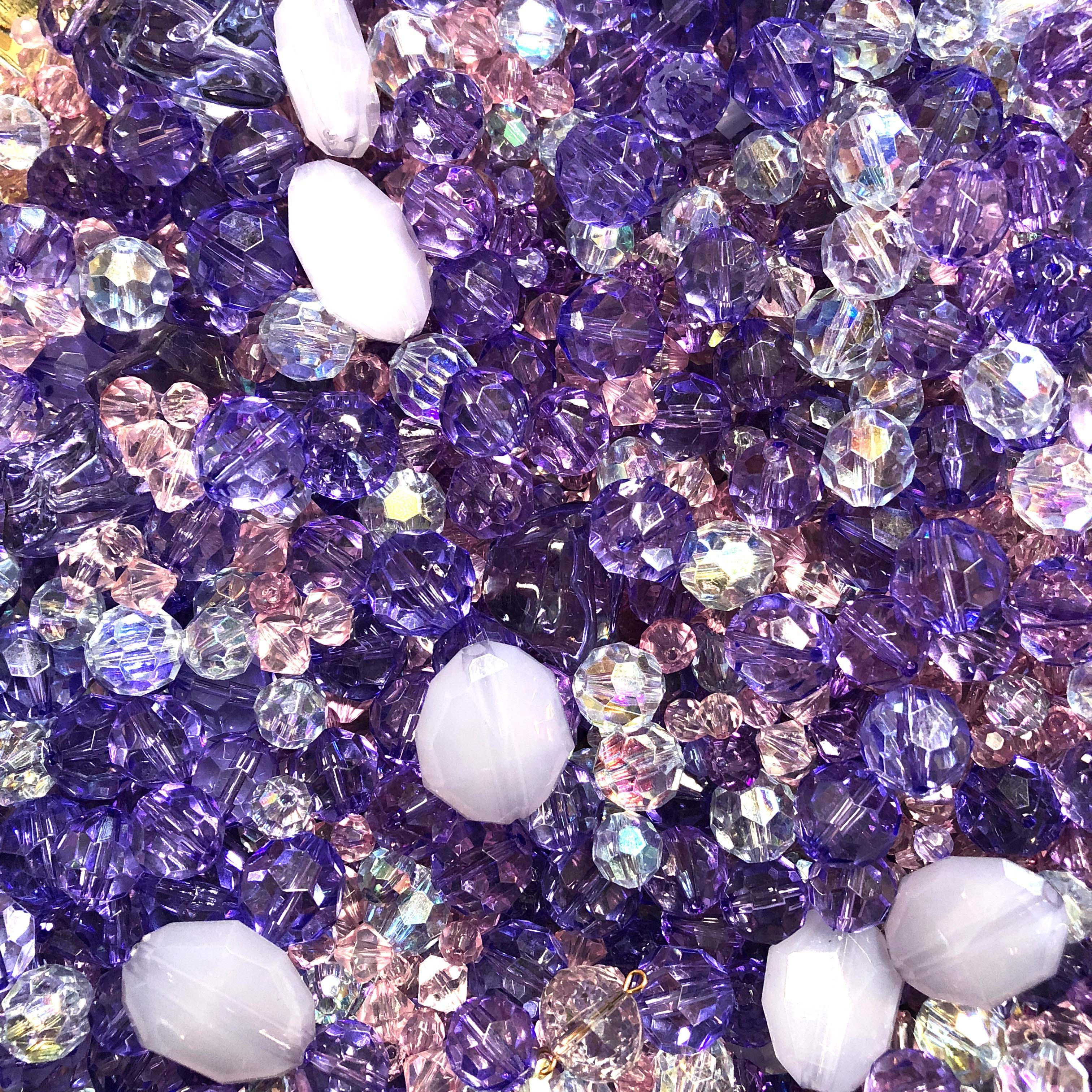 bead mix, designer beads, acrylic beads, colorful beads, fun beads, designer quality beads, plastic, plastic beads, purple beads, tanzanite color beads, flashy, beading, assorted beads, mixed beads,  big beads, small beads, B'sue Boutiques