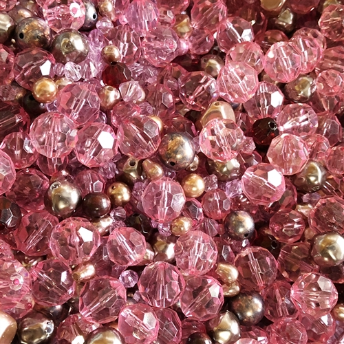 vintage bead mix, strawberries, chocolate, 01879, garnet red, true pink, pink beads, dark pink beads, brown and pink beads mixed, assorted beads, designer acrylic beads, one of a kind, acrylic mixed beads, B'sue Boutiques