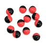 Round glass beads, glass beads, beading supplies, two tone beads, red and black, jewelry making, jewelry supplies, vintage supplies, B'sue, 8mm, faceted beads, 0826, beads