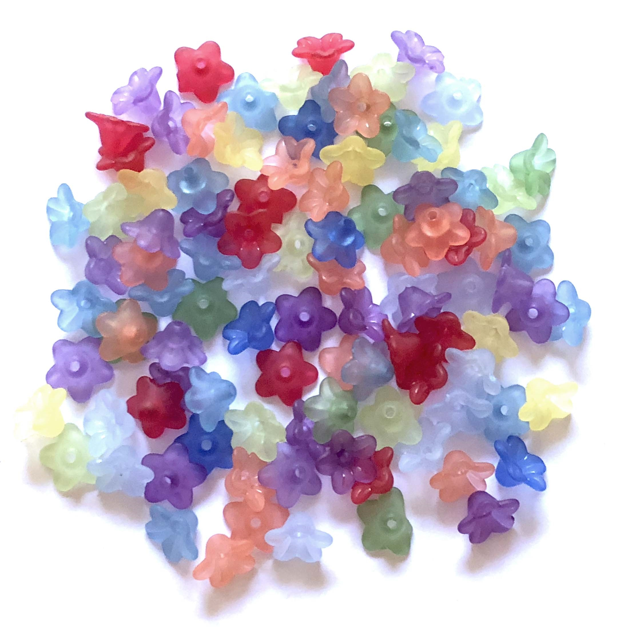 frosted acrylic flower beads, flower beads, mixed colors, plastic beads, transparent flower beads, 10mm, vintage supplies, jewelry making, jewelry supplies, jewelry findings, B'sue Boutiques, 08284