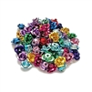 metal flower beads, rose beads, mixed colors, aluminum beads, roses, vintage supplies, jewelry making, jewelry supplies, jewelry findings, B'sue Boutiques, 08288, metal beads, assorted colors, flowers,