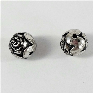 vintage plastic beads, metalized beads, 08306, rose beads, plastic rose beads, vintage jewellery supplies, jewelry making supplies, fashion beads, silver tone, black antiquing, side drilled