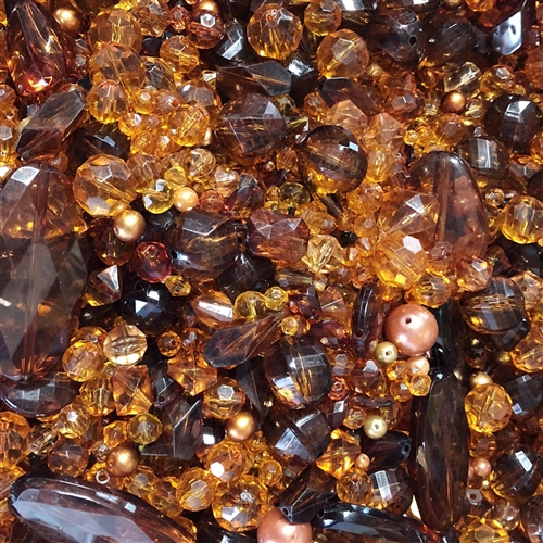hard cider bead mix, acrylic beads, amber, 08358, color of amber, smoke topaz beads, modeira topaz, B'sue Boutiques, designer plastic beads, plastic beads, vintage plastic beads, lucite beads, glass beads, vintage glass beads