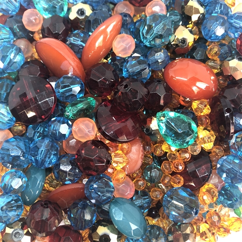 desert sun bead mix, assorted beads, 08363, mixed beads, mixed colors beads, acrylic beads, designer quality, designer beads, fashion beads, vintage fashion, amber, teal beads, briolettes, B'sue Boutiques, vintage acrylic beads, bag of beads