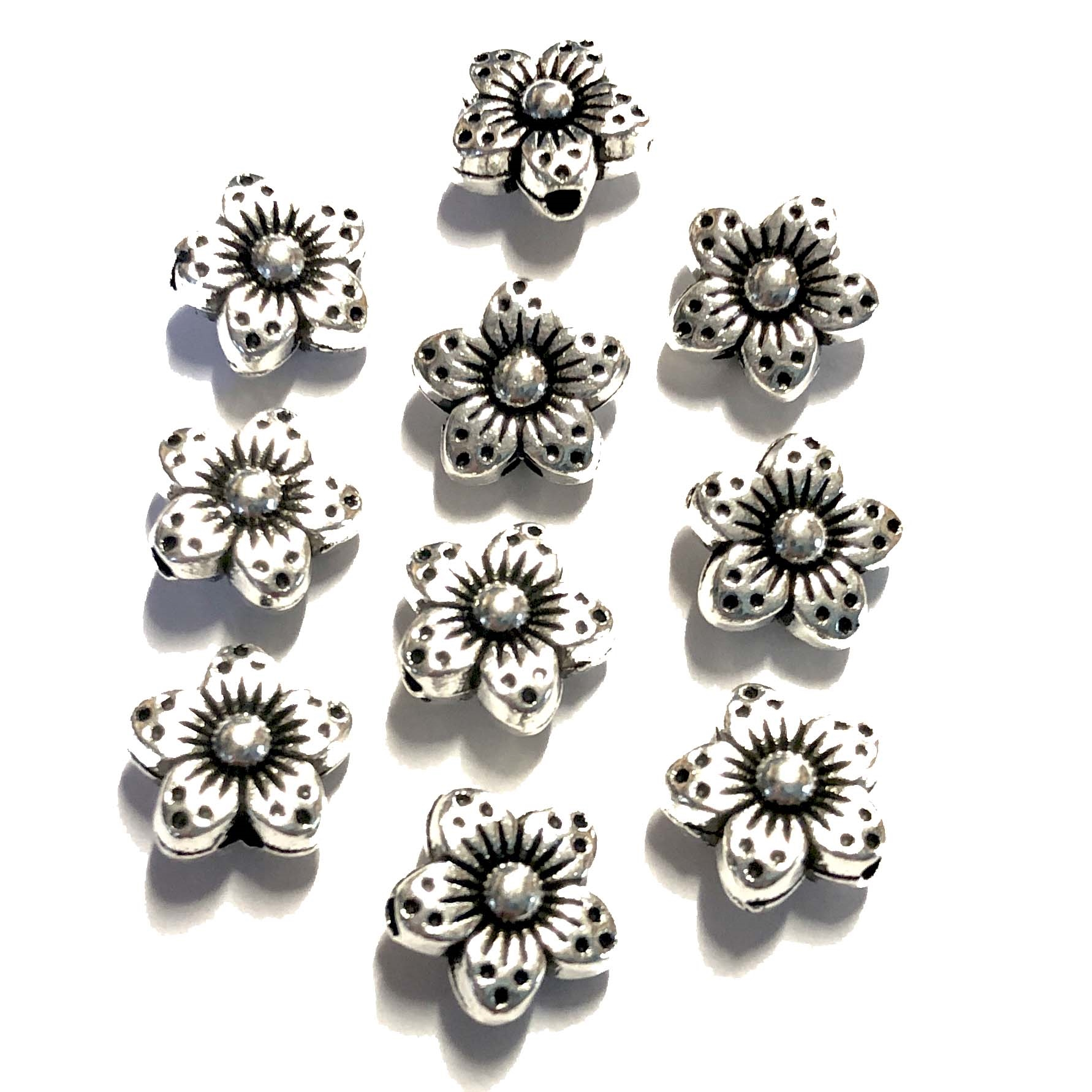 zinc alloy beads, flower beads, antique silver, 08875, vintage jewelry supplies, beading supplies, jewelry making supplies, B'sue Boutiques, jewelry supplies, silver plate beads, antique silver beads, side drilled beads