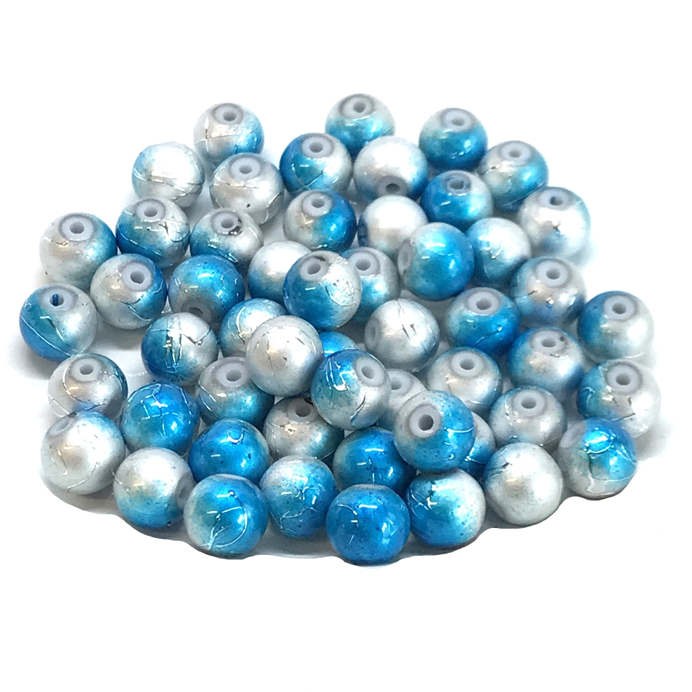 two-tone spectra beads, glass beads, jewelry supplies, colorful beads, two-tone beads, silver, blue, glass, spectra, 8mm, B'sue Boutiques, jewelry making, jewelry beads, beads, beading supplies, 0889, tie-dye beads
