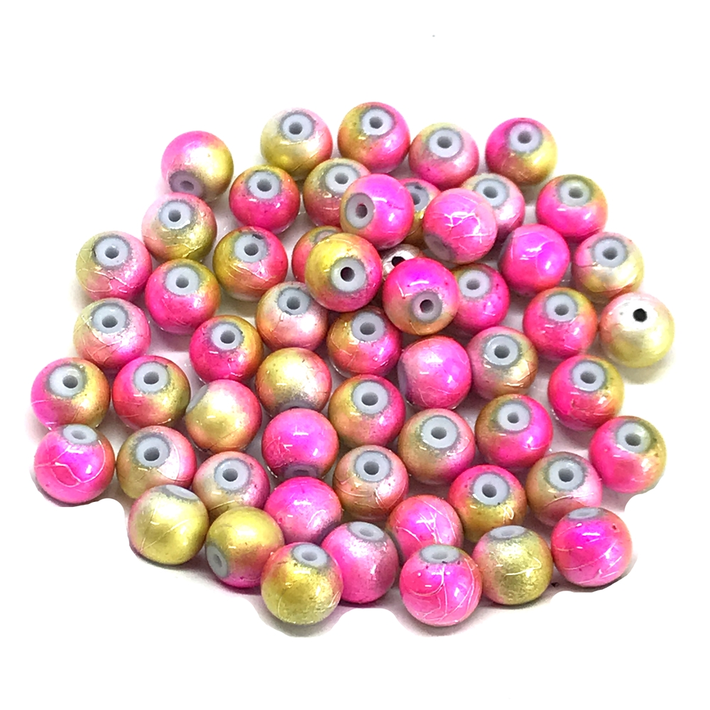 two-tone spectra beads, glass beads, jewelry supplies, colorful beads, two-tone beads, pink, gold, glass, spectra, 8mm, B'sue Boutiques, jewelry making, jewelry beads, beads, beading supplies, 0890, tie-dye beads