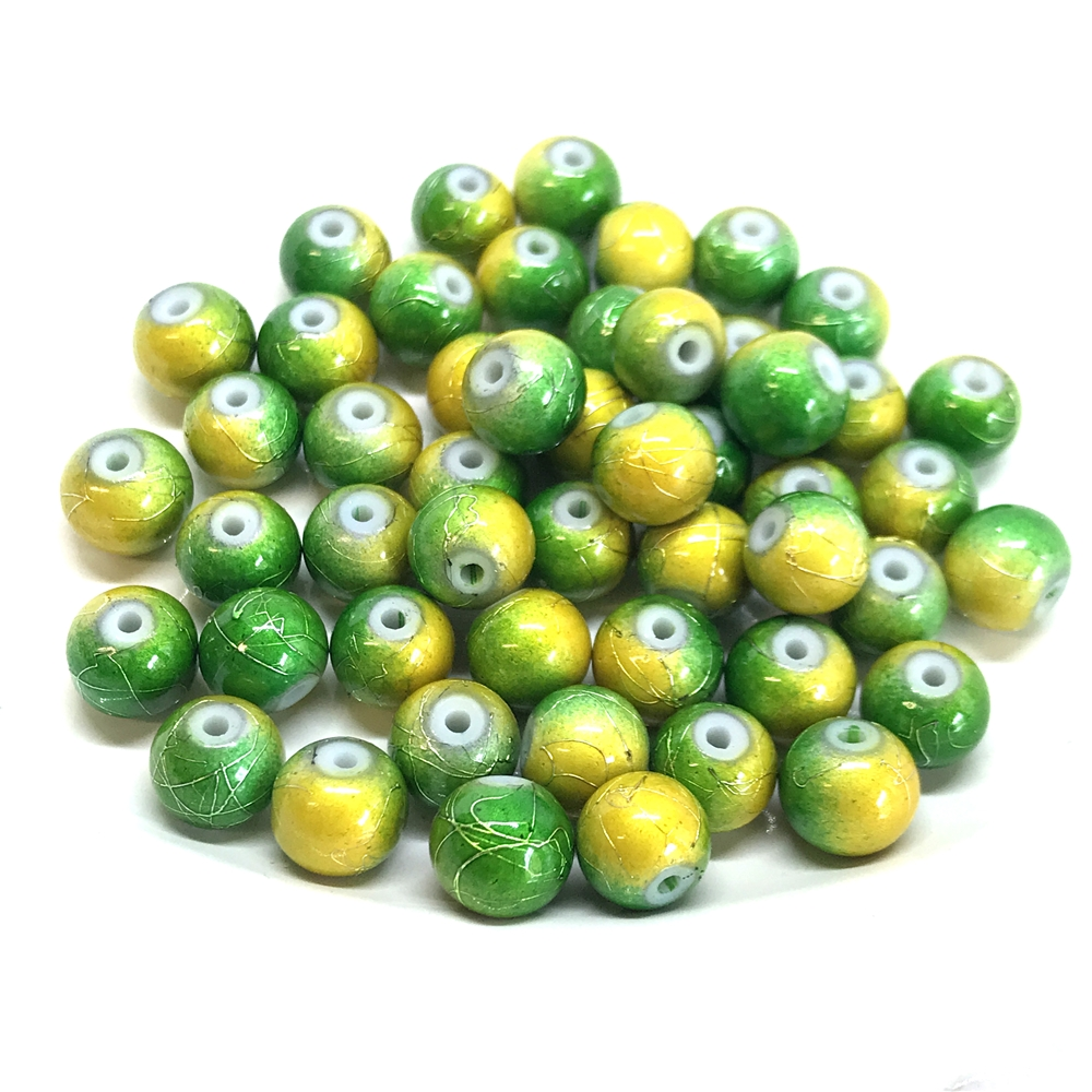 two-tone spectra beads, glass beads, jewelry supplies, colorful beads, two-tone beads, green, gold, glass, spectra, 8mm, B'sue Boutiques, jewelry making, jewelry beads, beads, beading supplies, 0892, tie-dye beads