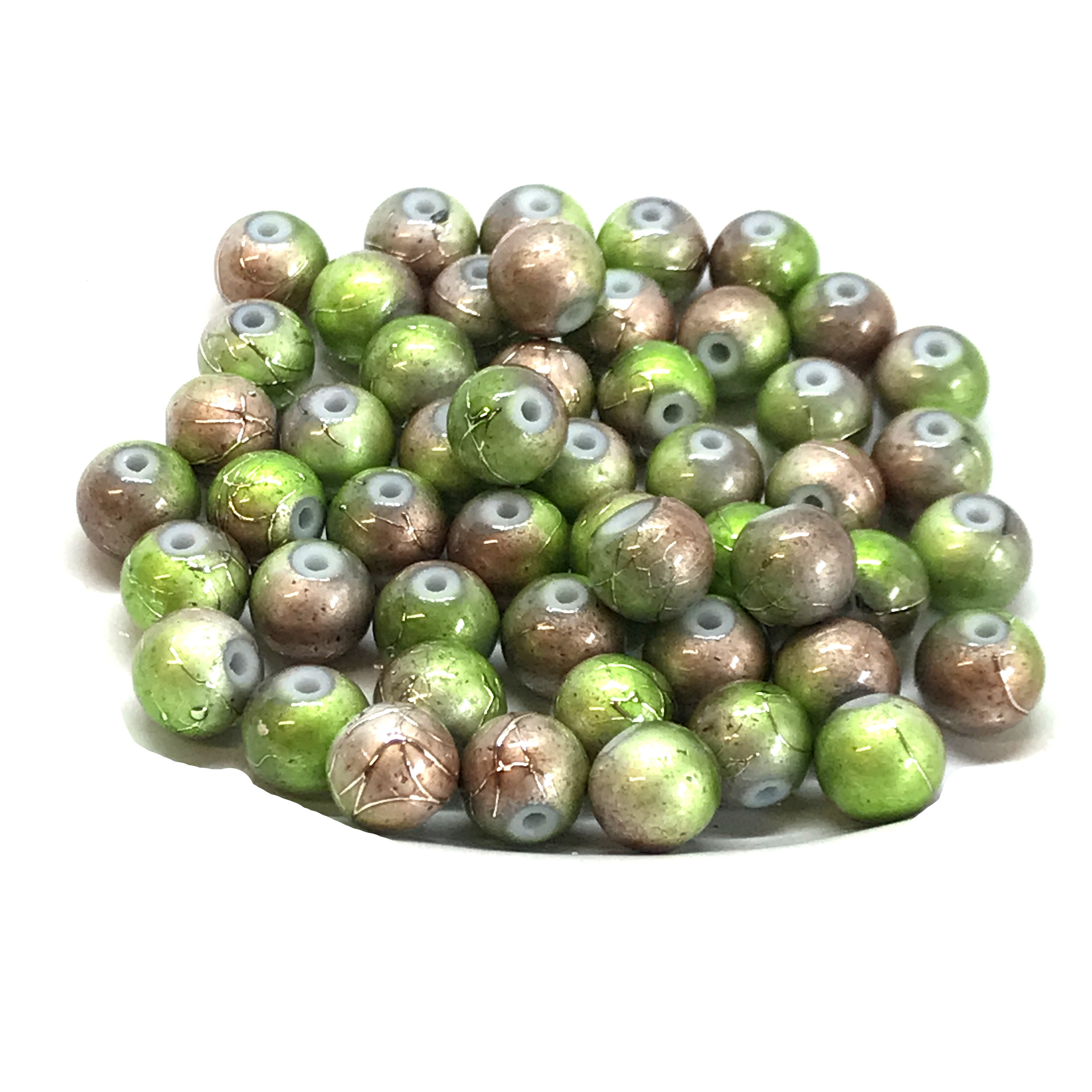 two-tone spectra beads, glass beads, jewelry supplies, colorful beads, two-tone beads, green, brown, glass, spectra, 8mm, B'sue Boutiques, jewelry making, jewelry beads, beads, beading supplies, 0893, tie-dye beads