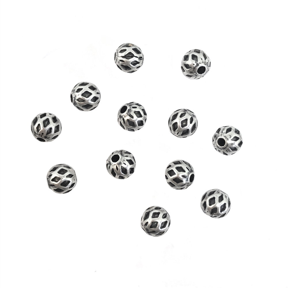 argyle style beads, round, 5mm, silverware silverplate, brass beads, industrial beads, metal beads, beads, filigree beads, designer findings, designer beads, steampunk, vintage supplies, jewelry making, B'sue Boutiques, 08963