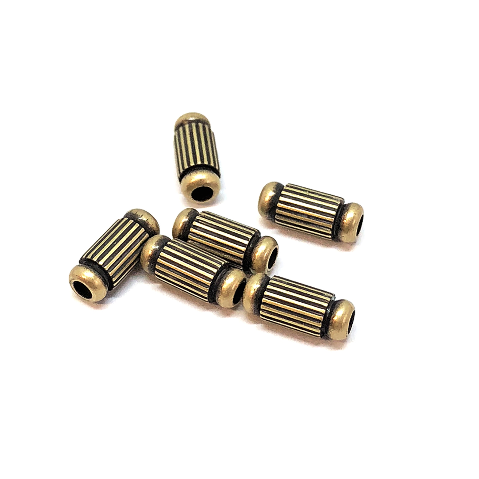 brass beads, industrial beads, brass ox, antique brass, 08980, b'sue boutiques, nickel free, us made, jewelry supplies, jewelry making, brass jewelry parts, steampunk, vintage supplies, vintage jewelry supplies, corrugated beads, bead, brass, 8x3mm