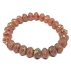 rondelle salmon Picasso finish beads, salmon, beads, Czech glass beads, rondelle beads, Czech glass, Czech, glass, Picasso, drilled, glass beads, pink beads, US made, B'sue Boutiques, jewelry making, pink, faceted beads, 6x8mm, 08988