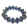 Saturn sapphire Picasso finish beads, Saturn sapphire, beads, Czech glass beads, saucer beads, Czech glass, Czech, glass, Picasso, drilled, glass beads, sapphire beads, US made, B'sue Boutiques, jewelry making, grey, blue, 8x10mm, 08989