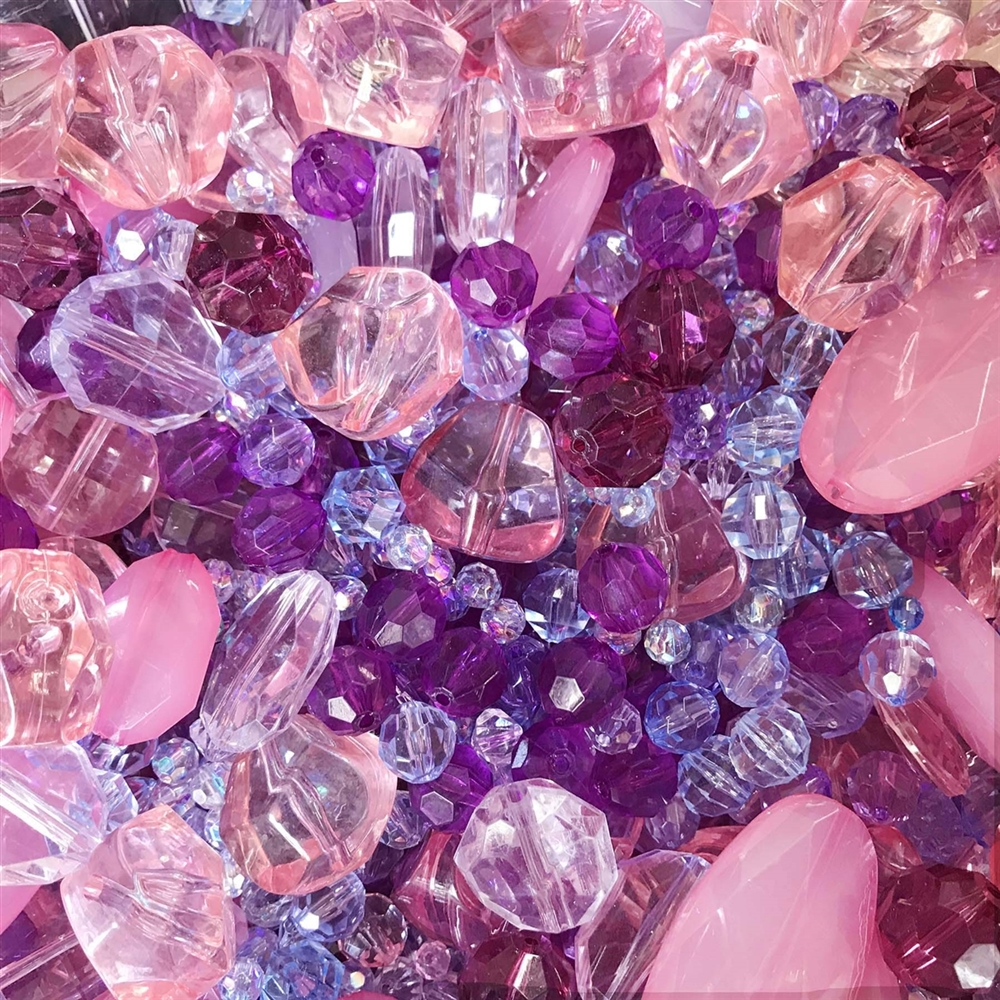 A Mid Summer Nights Dream bead mix, Chunky Beads 0899, sapphire ab, mixed blue beads, assorted beads, amethyst beads, pink beads, beading supplies, jewelry making supplies, vintage jewelry supplies, faceted beads, machine cut beads
