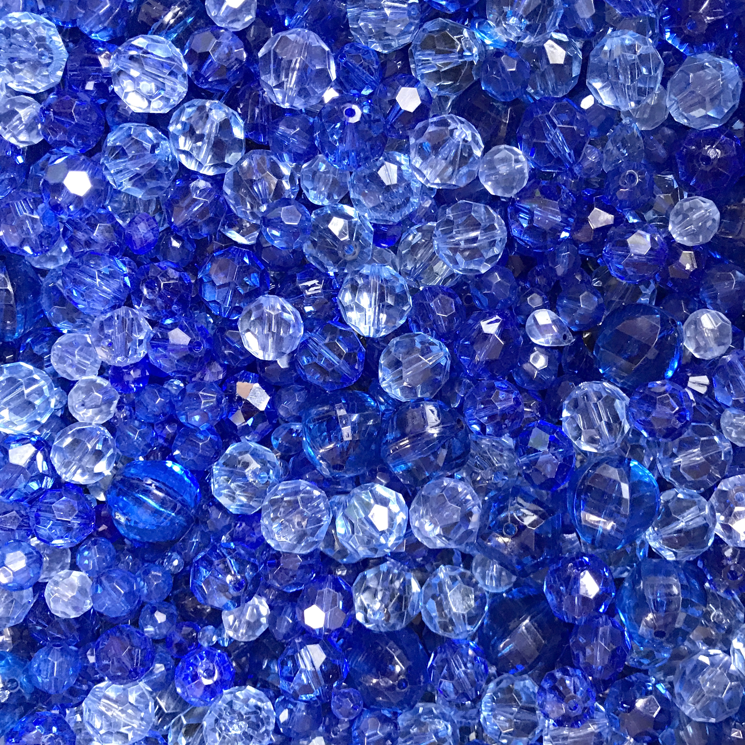 Bead Mix, Tangled Up In Blue, 0908, mixed blue beads, assorted beads, beading supplies, jewelry making supplies, vintage jewelry supplies, faceted beads, mixed beads