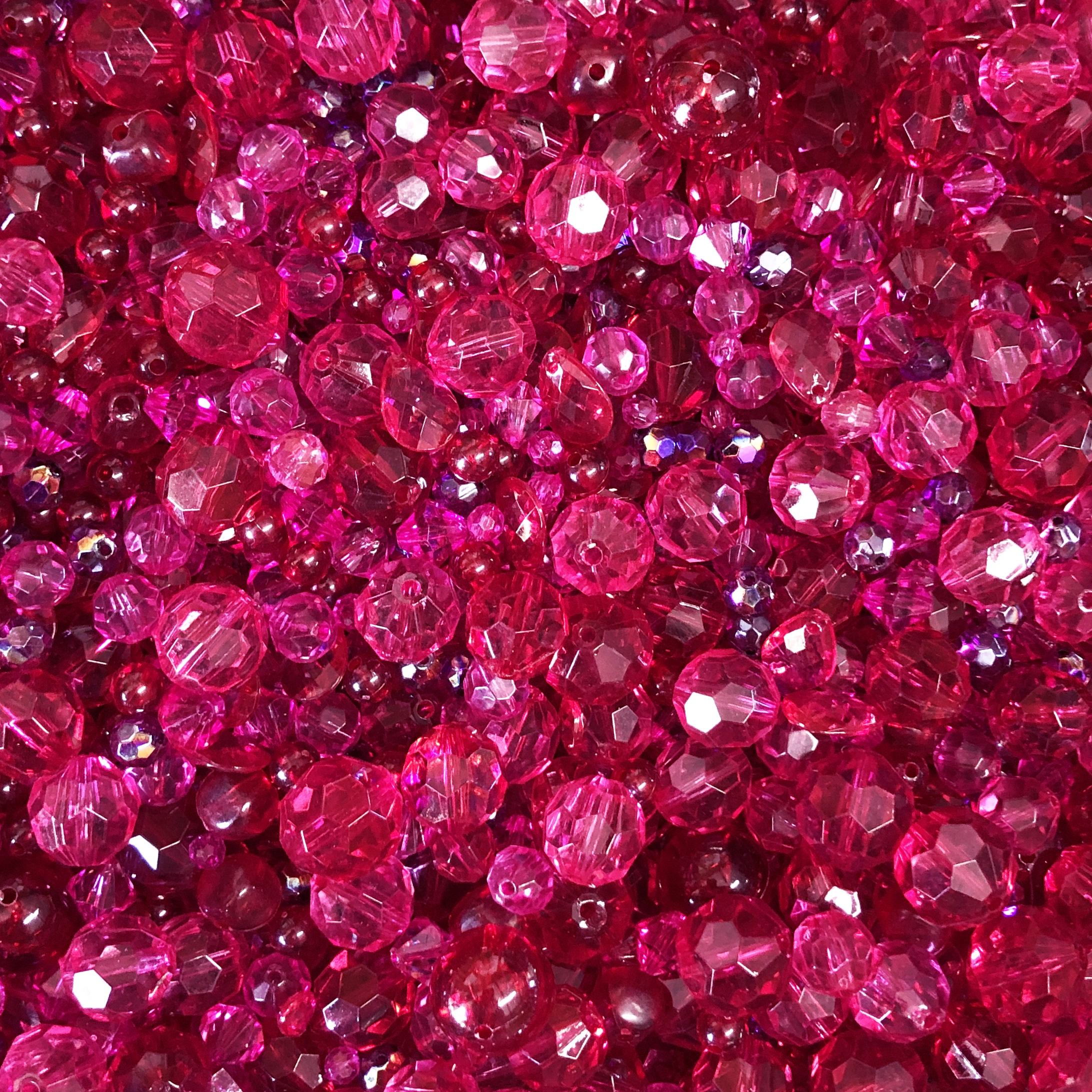 Acrylic Bead Mix, Fucshia Riot Bead Mix, 0911, mixed pink beads, assorted beads, beading supplies, jewelry making supplies, vintage jewelry supplies, faceted beads, mixed beads, bicone beads, red beads, briolettes, round beads