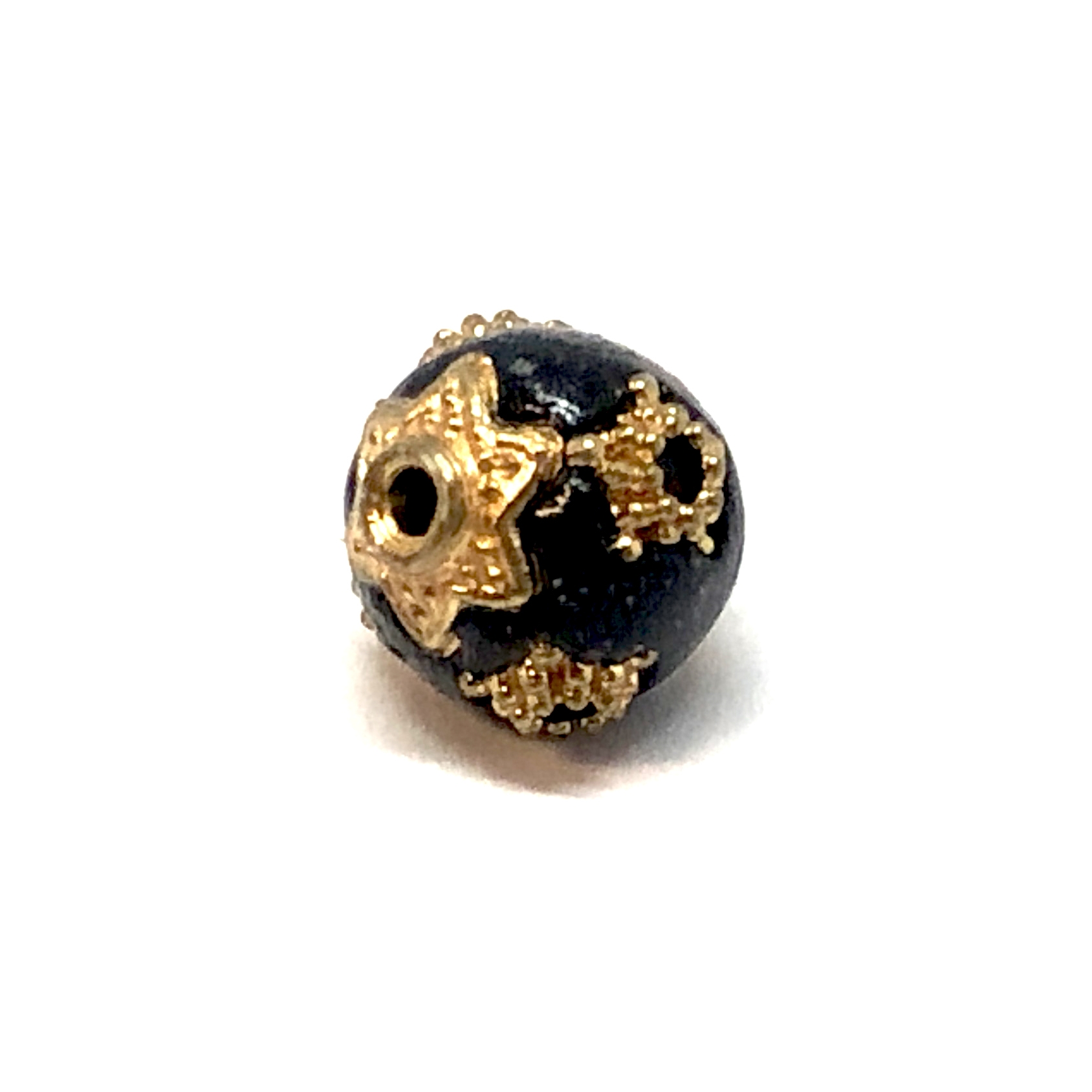 Handmade Indonesian Beads, Black/Gold, 11mm, 09175, beads, black beads, gold star beads, plastic beads, acrylic beads, beading supplies, jewelry making supplies, vintage jewelry supplies