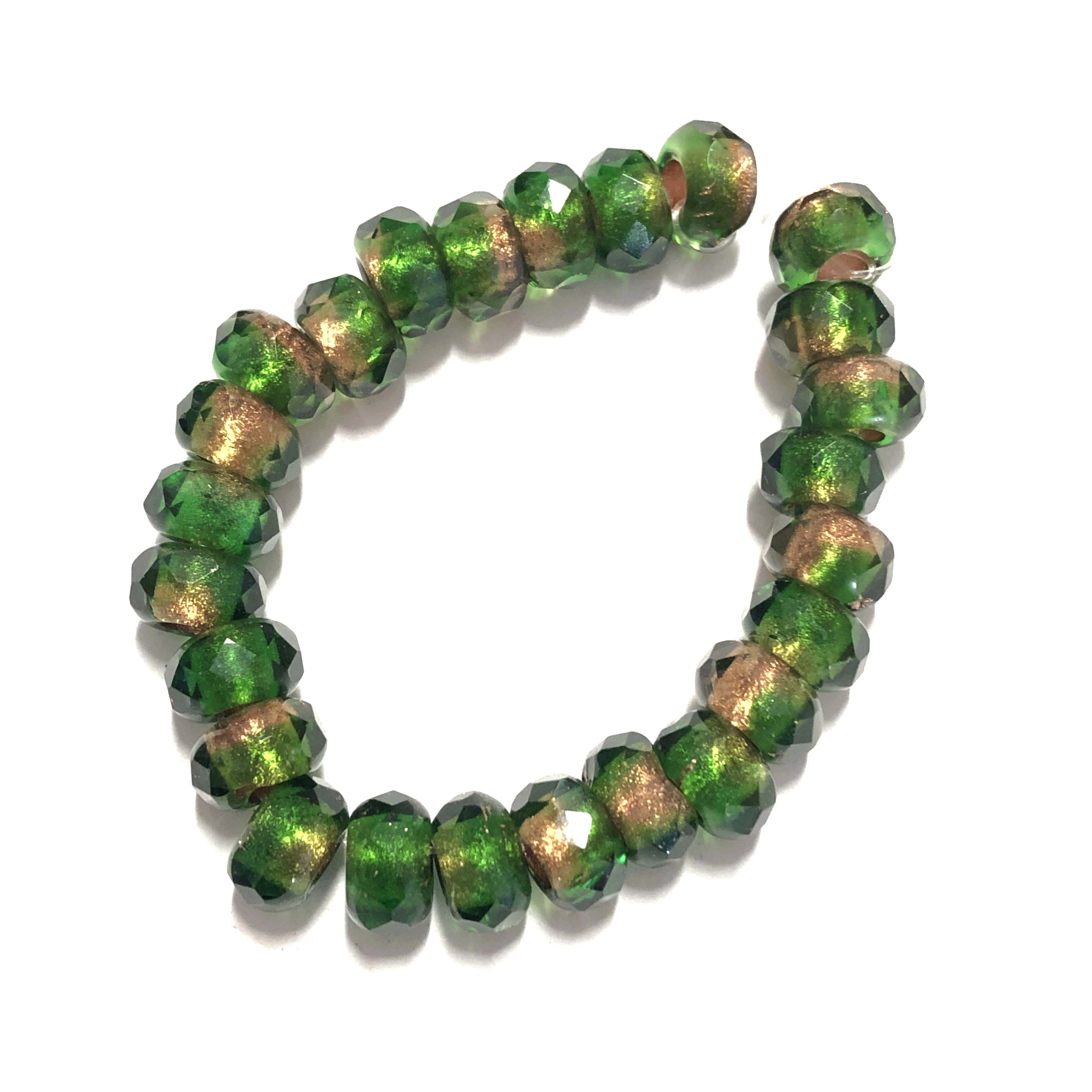 Faceted Rondelle Roller beads, green beads, rondelle beads, faceted, glass beads, czech glass, 6x9mm, jewelry making, beading supplies, jewelry supplies, vintage supplies, firepolished beads, 0918