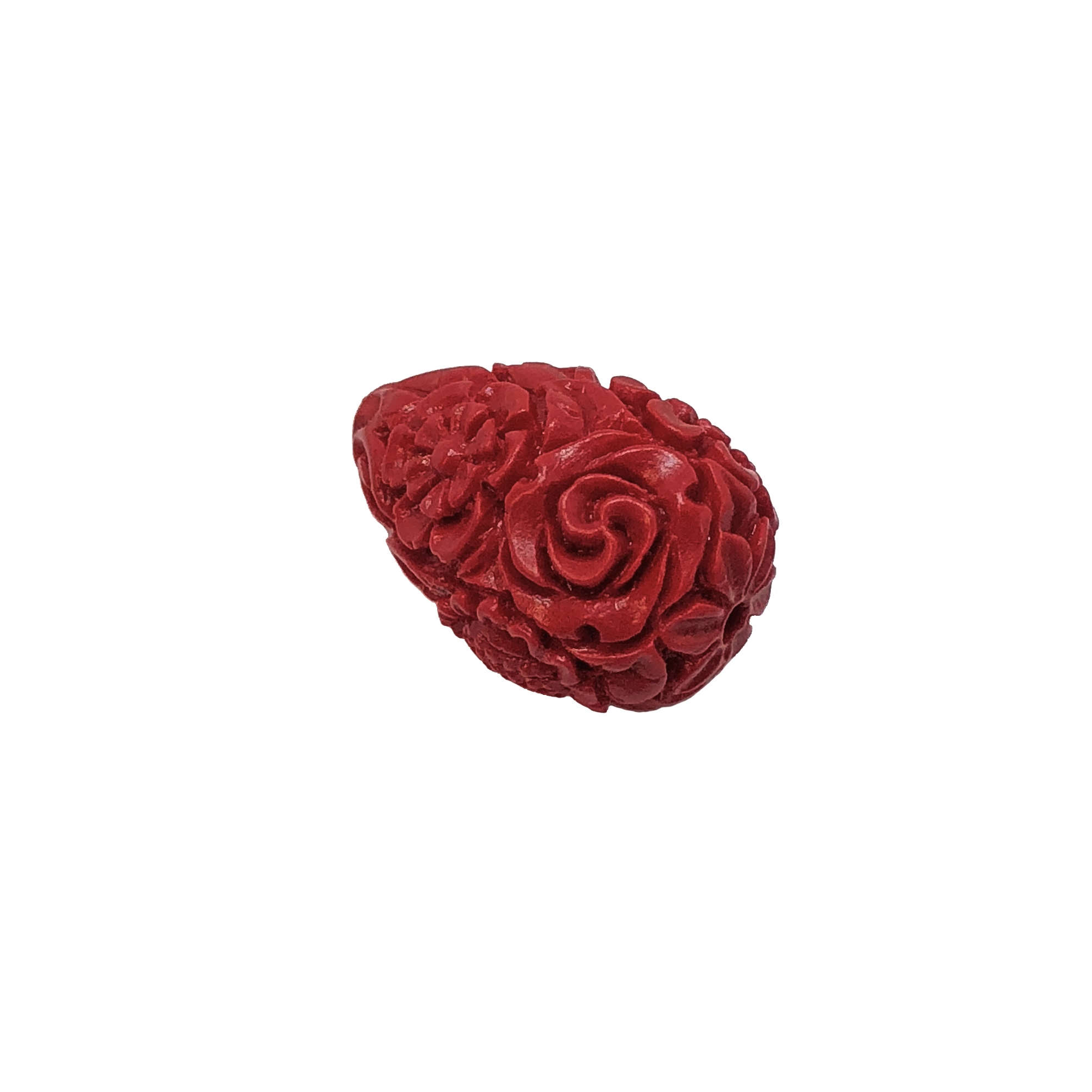 Carved floral Cinnabar Beads, Resin, Red, 09182, beading supplies, vintage jewelry supplies, jewelry making supplies, fashion beads, floral beads, resin beads, carved beads, fire brick red, tear drop beads,