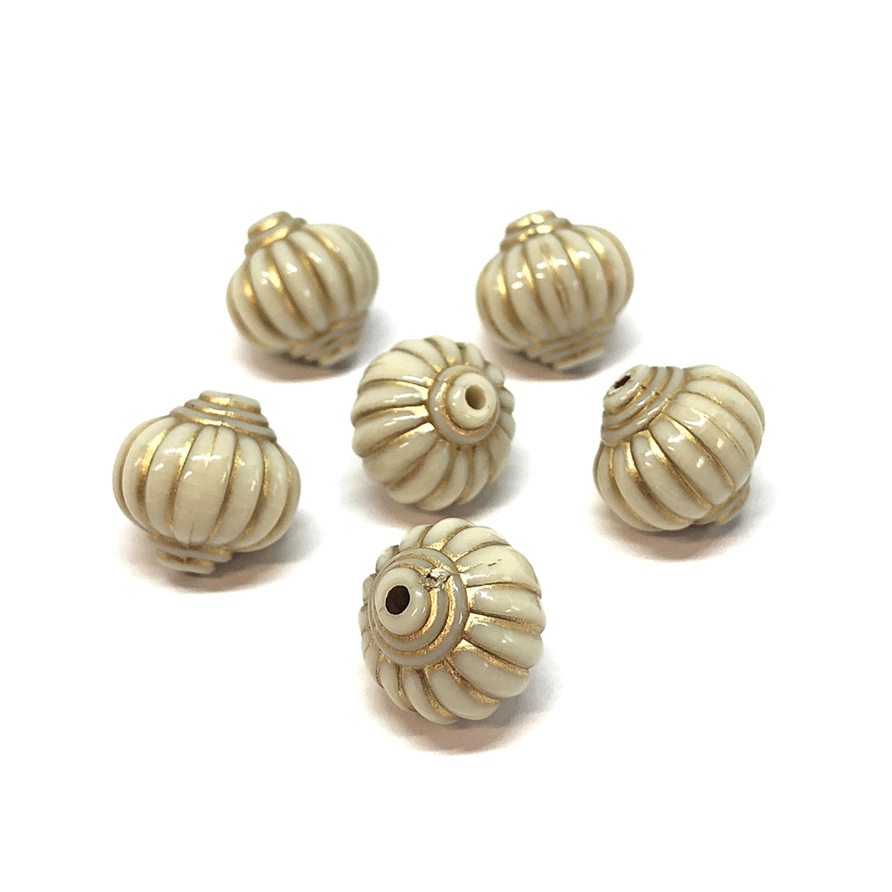Resin Lantern Beads, Ivory/Gold, 14mm, 09187 beads, designer beads, hot air balloon beads, plastic beads, acrylic beads, beading supplies, jewelry making supplies, vintage jewelry supplies