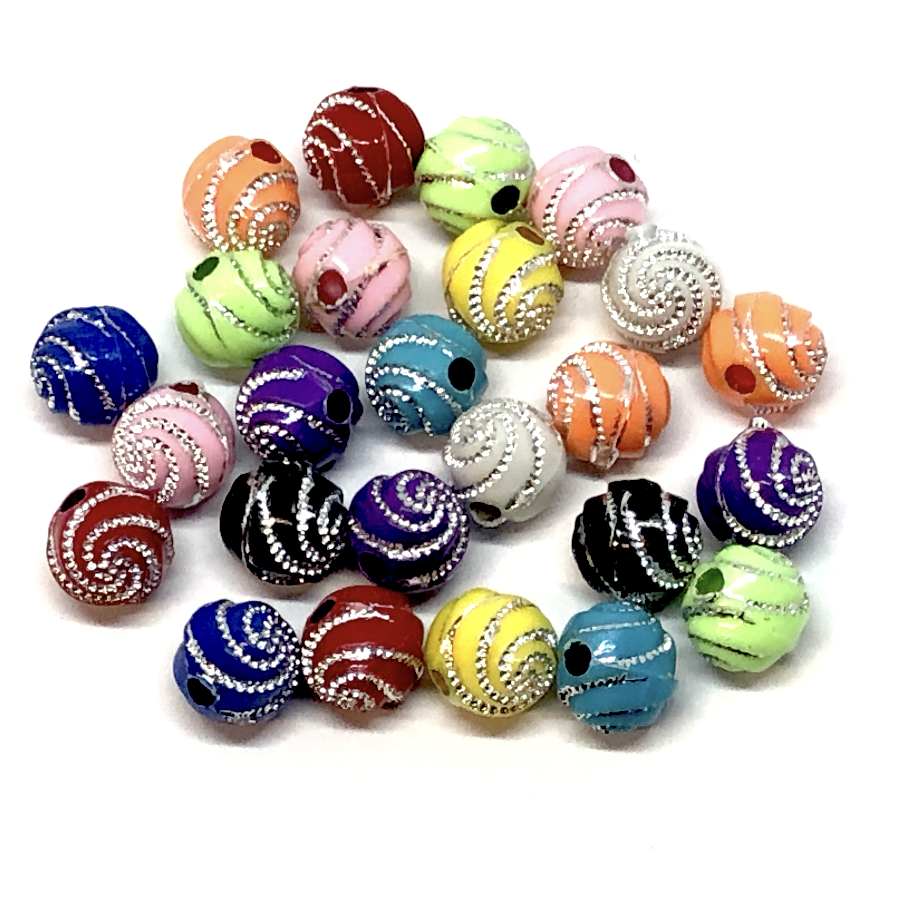Acrylic Swirl Pattern Beads, Metal Accent, 09200, multi color, rainbow colors, assorted beads, 8x8mm, beads, colorful, multi-color beads, assorted colors, plastic beads, acrylic beads, bead mix, beading supplies