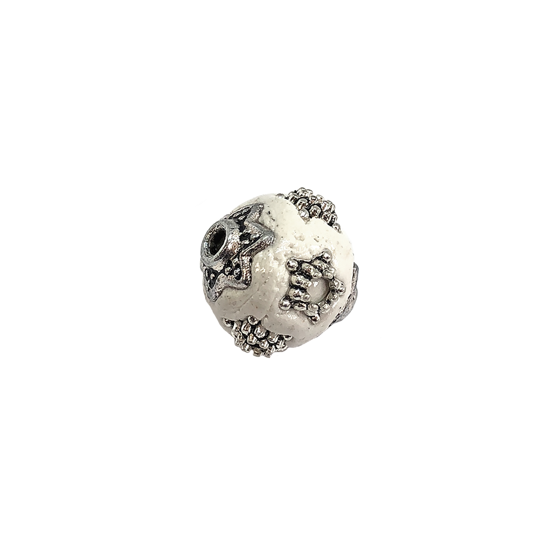 handmade Indonesian beads, white/silver, 11mm, beads, white beads, silver star beads, plastic beads, resin beads, beading supplies, jewelry making, jewelry supplies, vintage supplies, white bead, star accenting beads, 09207