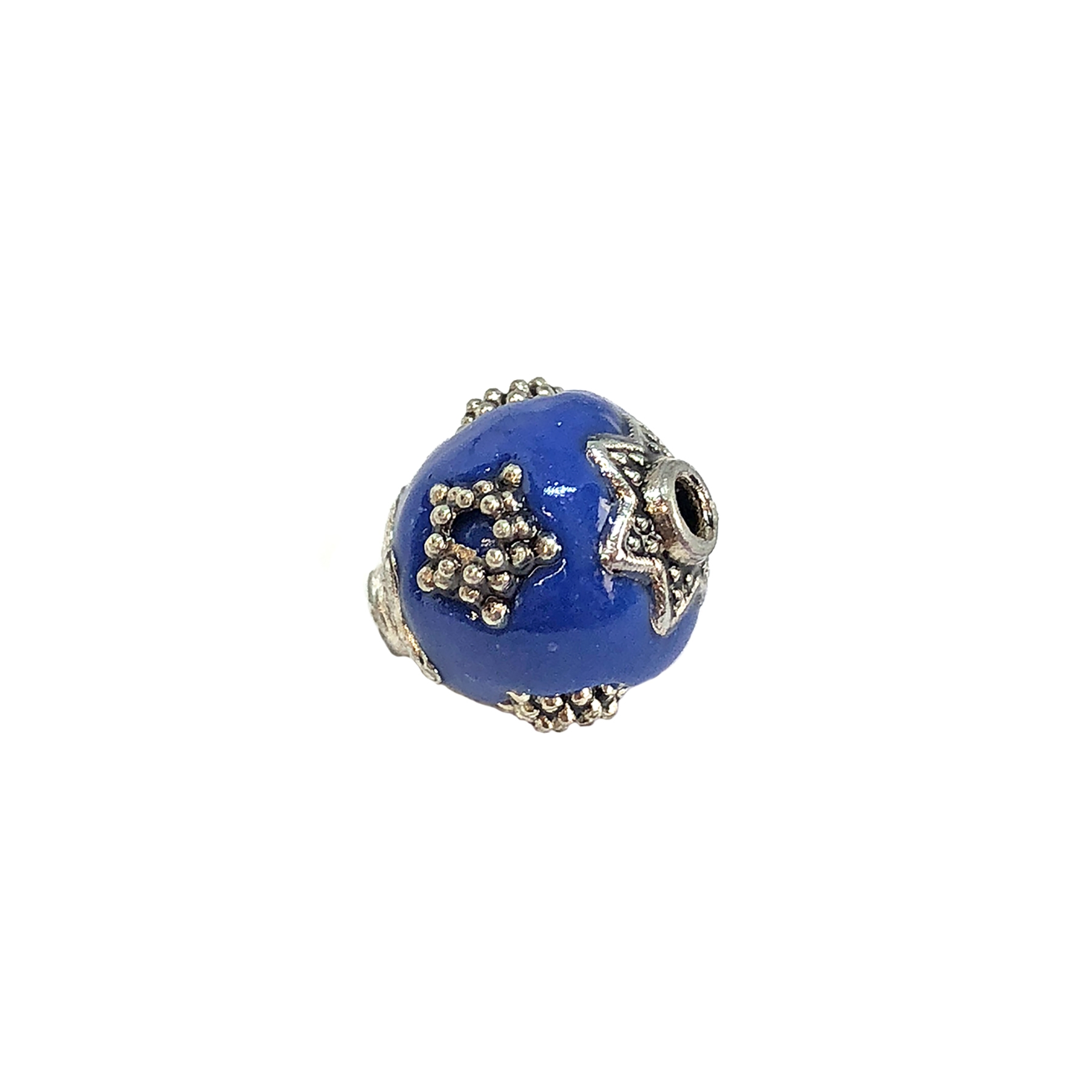handmade Indonesian beads, cobalt/silver, 11mm, beads, blue beads, silver star beads, plastic beads, resin beads, beading supplies, jewelry making, jewelry supplies, vintage supplies, cobalt bead, star accenting beads, 09208