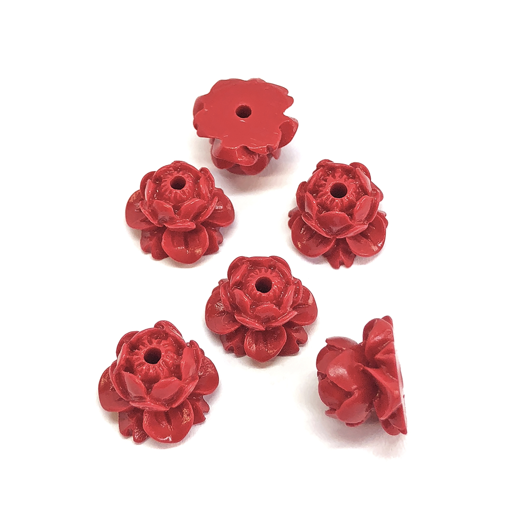 carved Lotus cinnabar beads, resin, red, beading supplies, vintage supplies, jewelry making, jewelry supplies, fashion beads, floral beads, resin beads, carved beads, fire brick red, flower beads, lotus bead, bead, carved lotus, 09209
