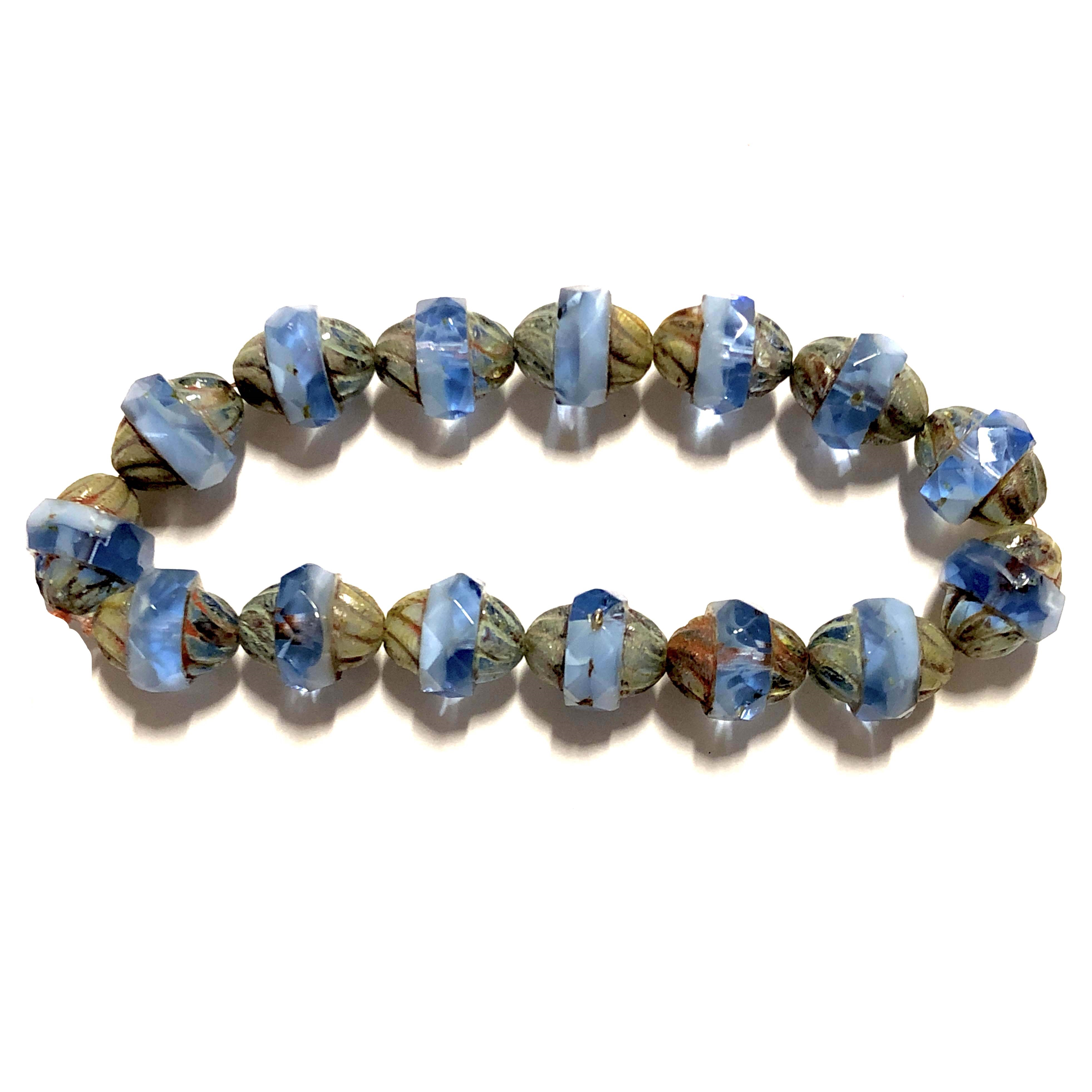 Turbine Cornflower Blue Picasso finish beads, blue beads, Czech glass beads, cornflower beads, fire polished, Czech, glass, Picasso, drilled, glass beads, US made, B'sue Boutiques, transparent beads, faceted beads, 11x10mm, 09332